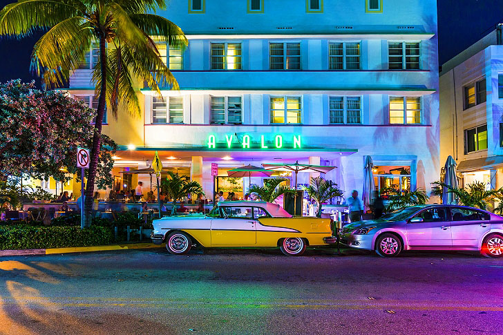 Cars Driving Down Ocean Drive Miami