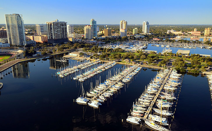 Aerial View Of St Petersburg Marina, Tampa