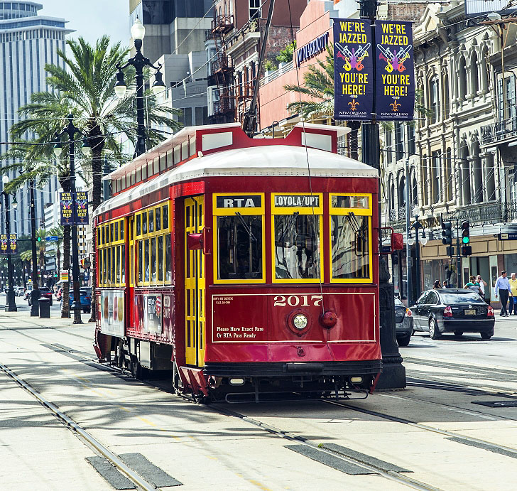 Tram In New Orleans French Quarter